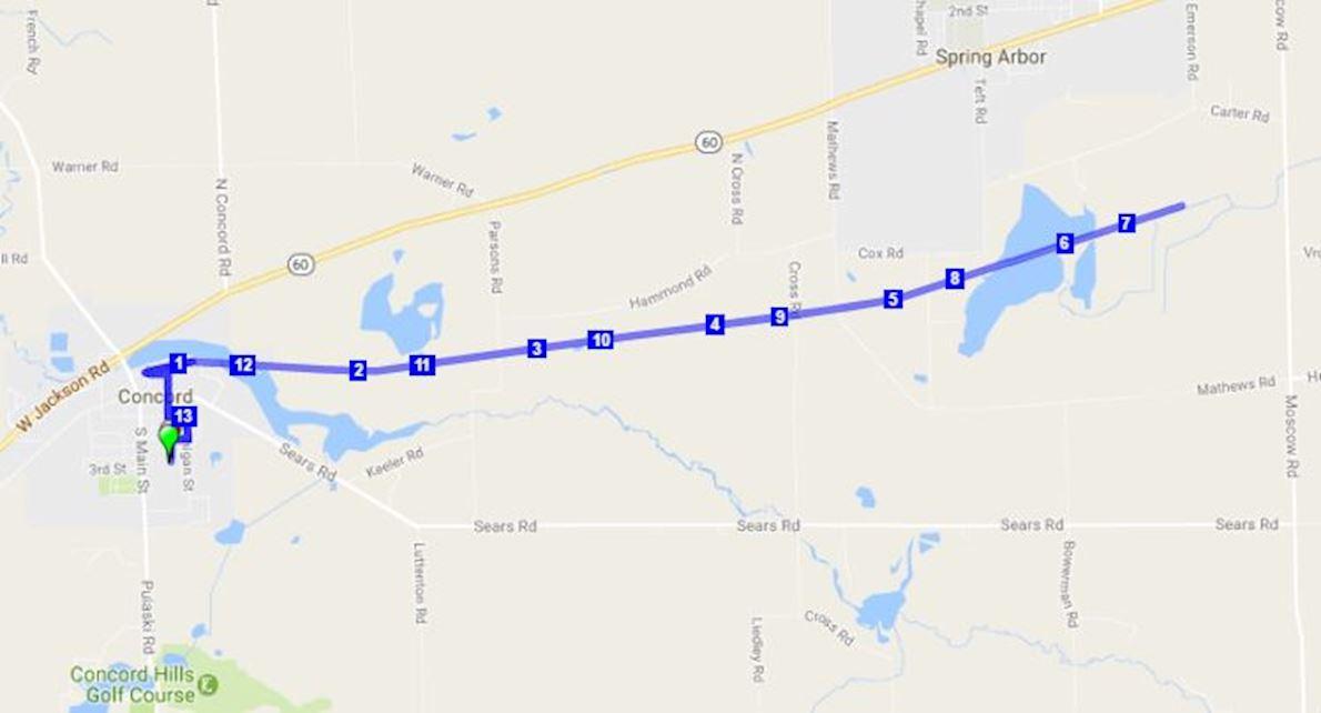 Falling Waters Trail 5K / 10K / Half Marathon Run / Walk MAPA DEL RECORRIDO DE