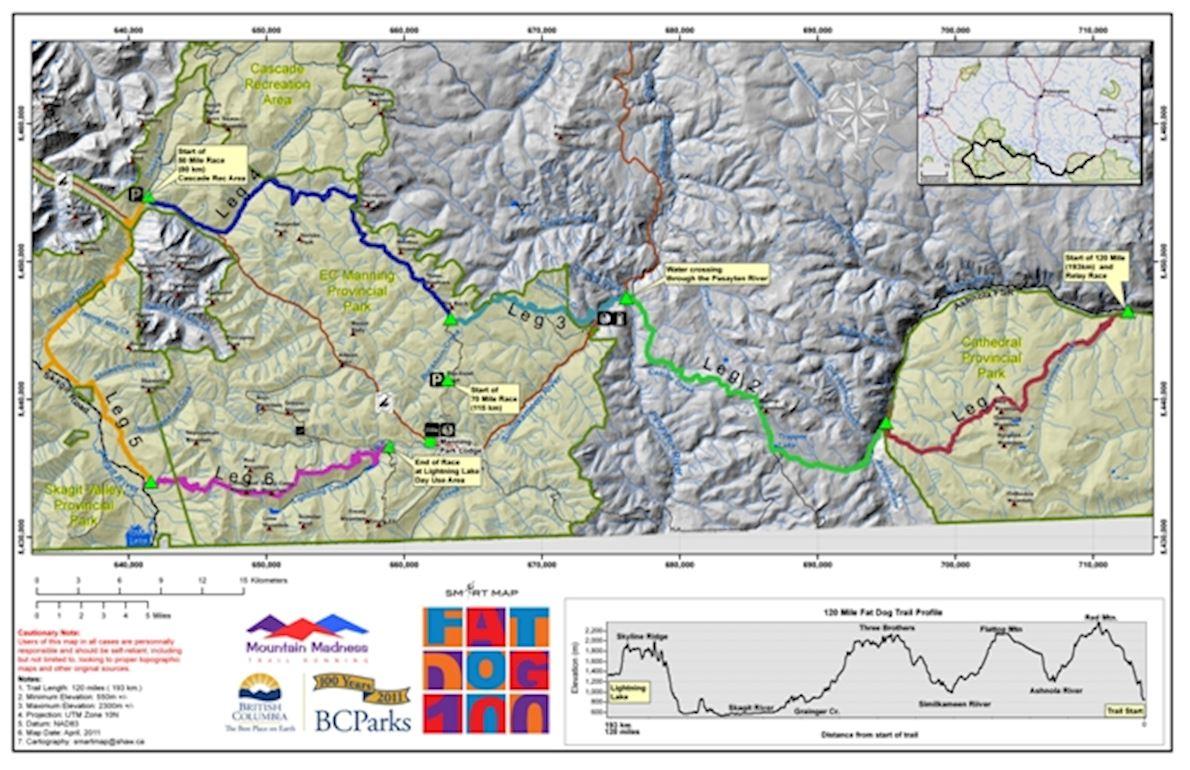 Fat Dog 120 Trail Race Mappa del percorso