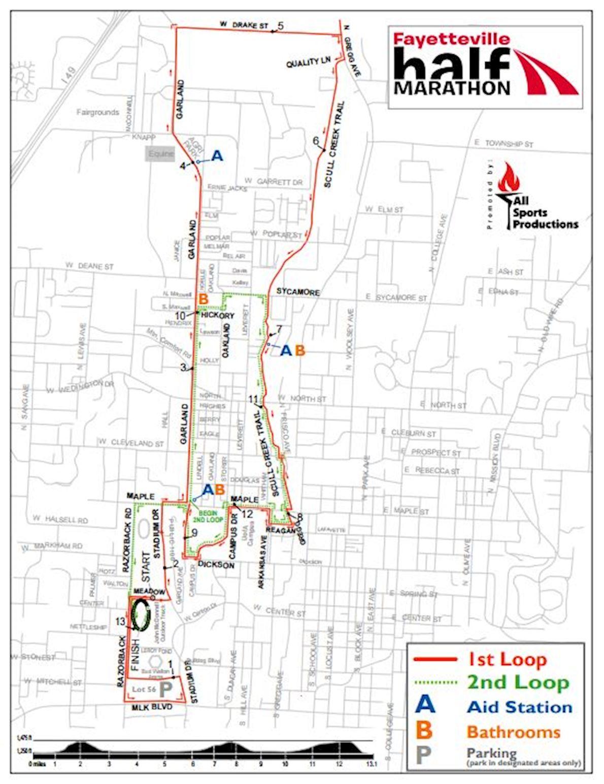Fayetteville Half Marathon Mappa del percorso
