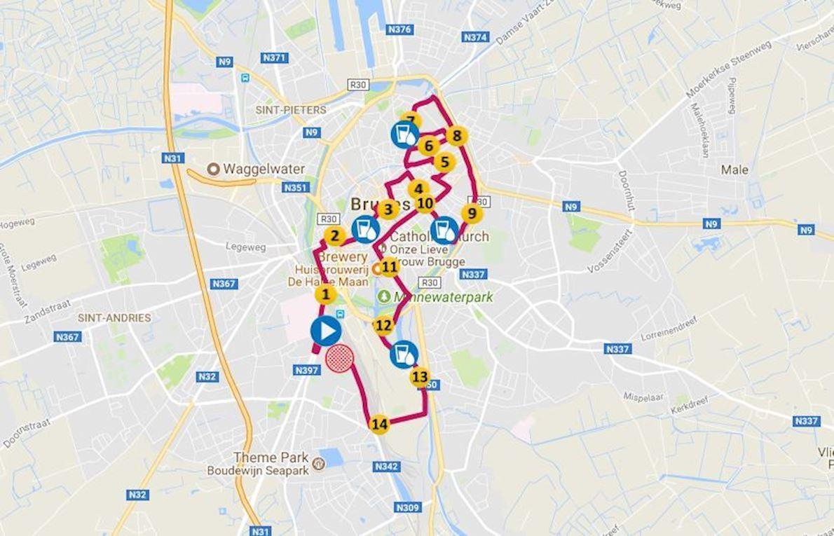 Fintro Dwars Door Brugge 路线图