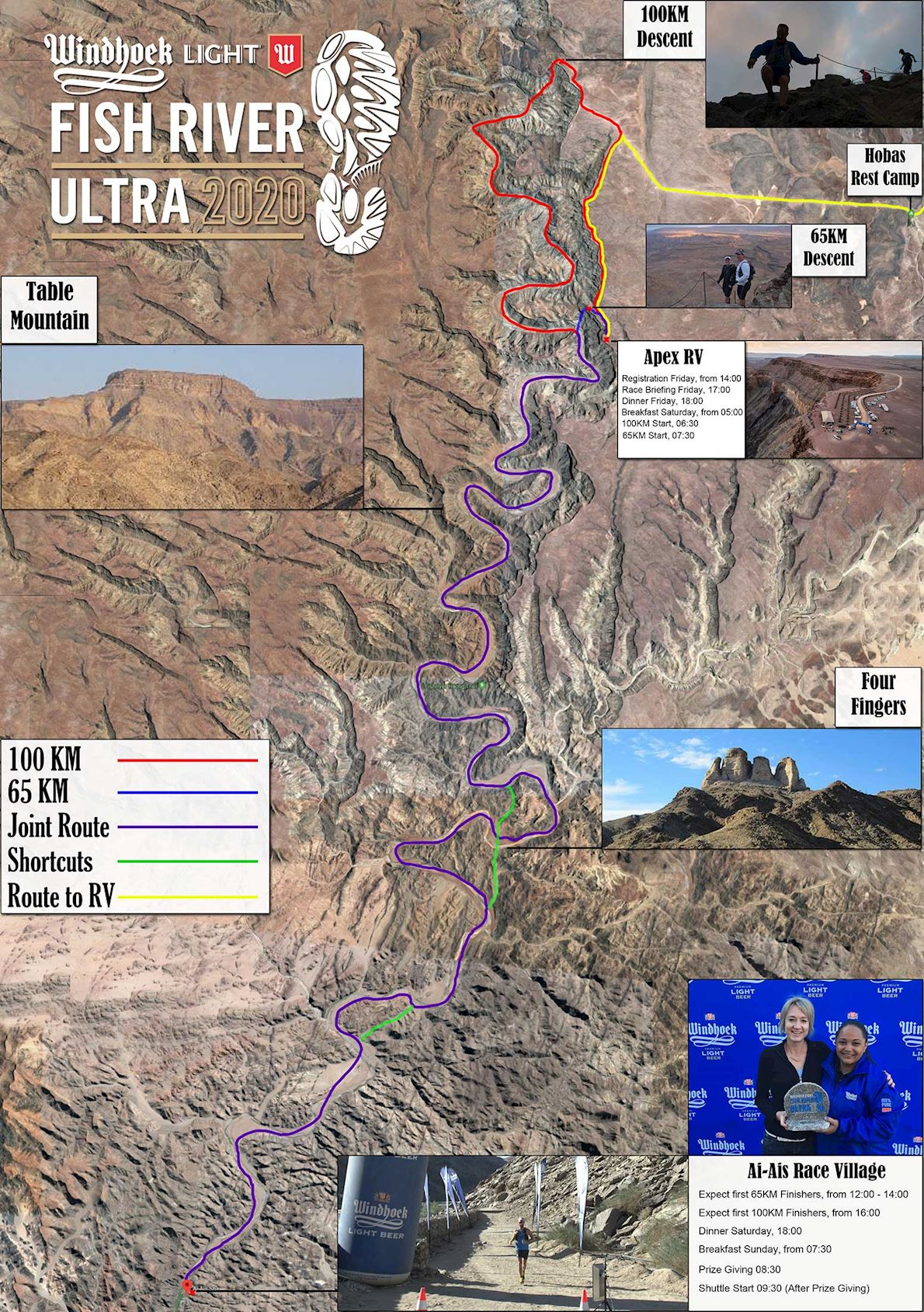 Windhoek Light Fish River Canyon Ultra MAPA DEL RECORRIDO DE