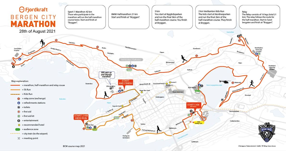 Fjordkraft Bergen City Marathon 路线图