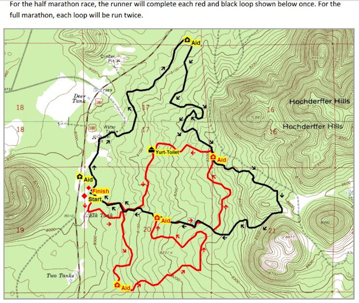 Flagstaff Marathon Route Map