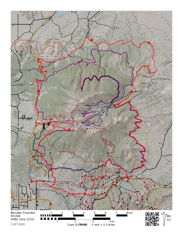 Flagstaff Sky Peaks Routenkarte