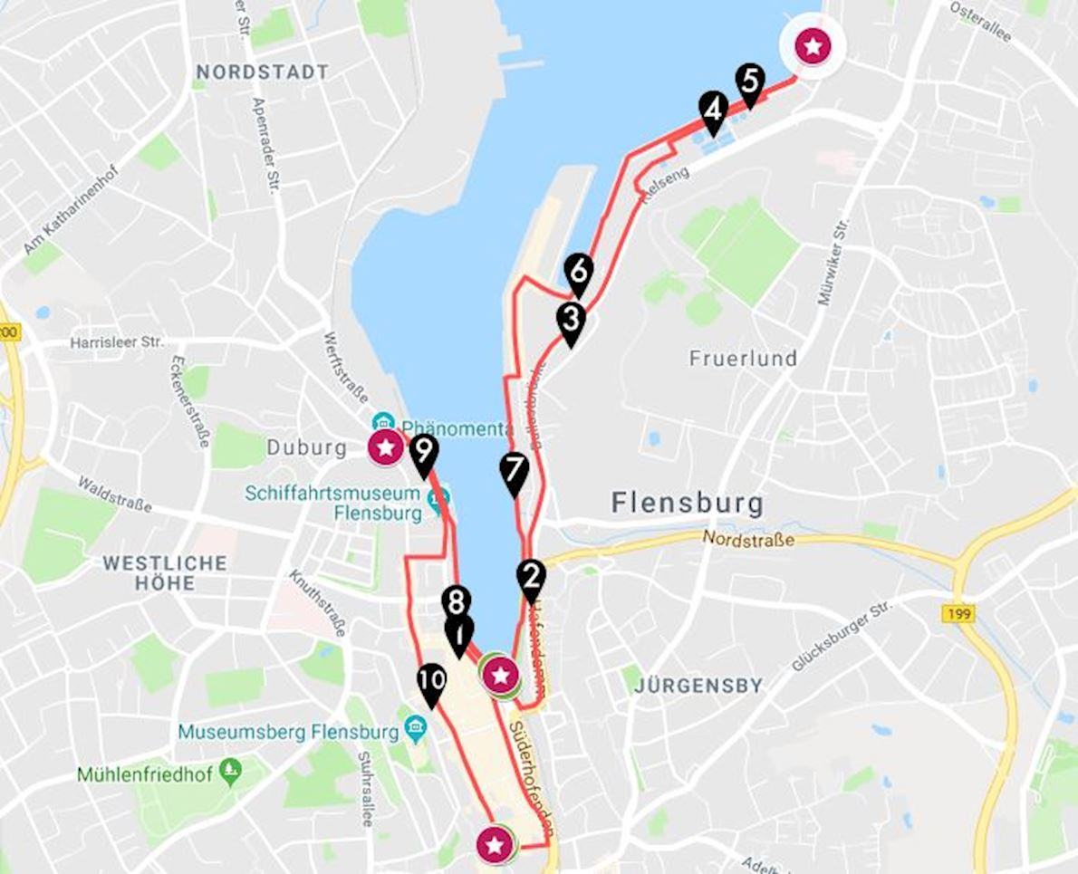 Flensburg liebt Dich Marathon Route Map