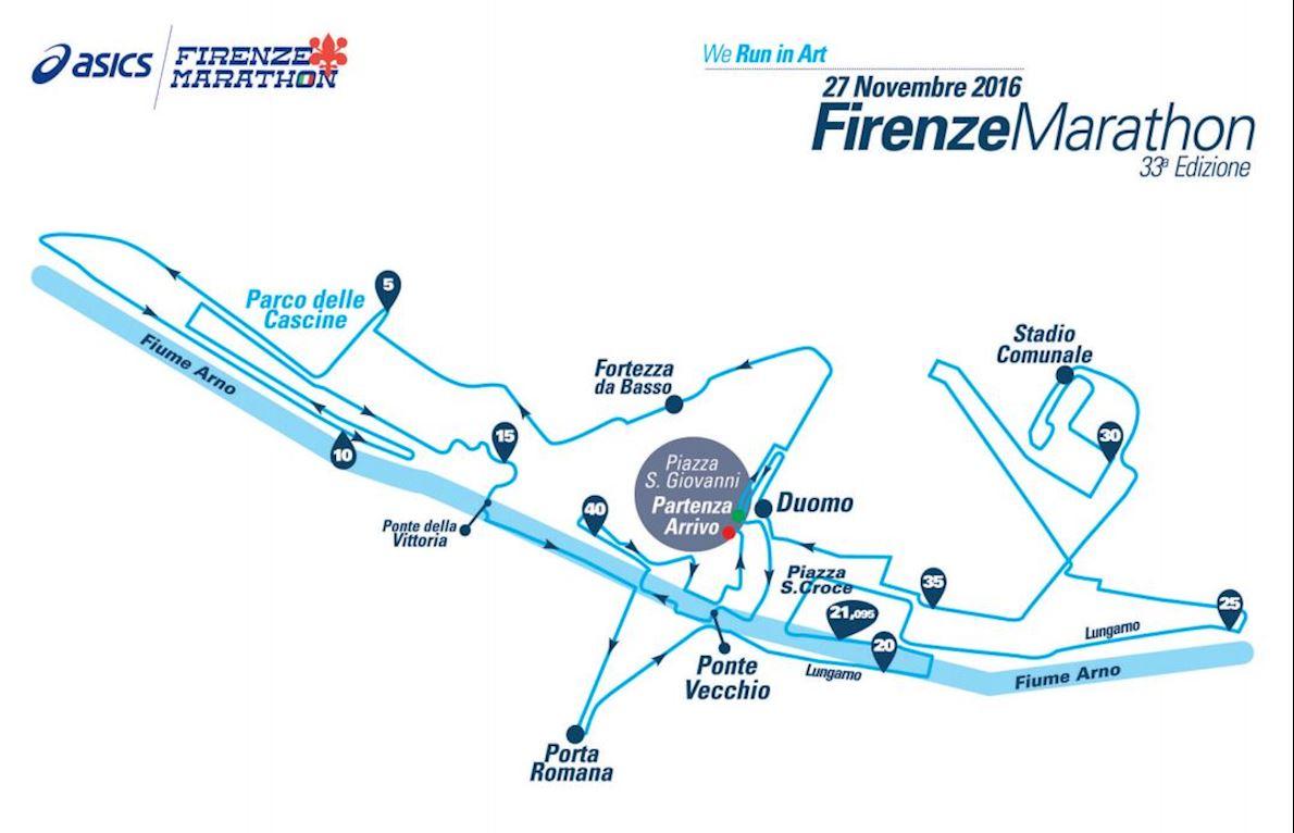 Firenze Marathon Routenkarte