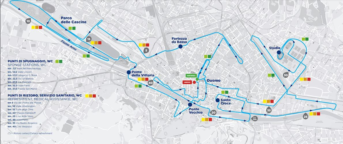 Florence Marathon MAPA DEL RECORRIDO DE