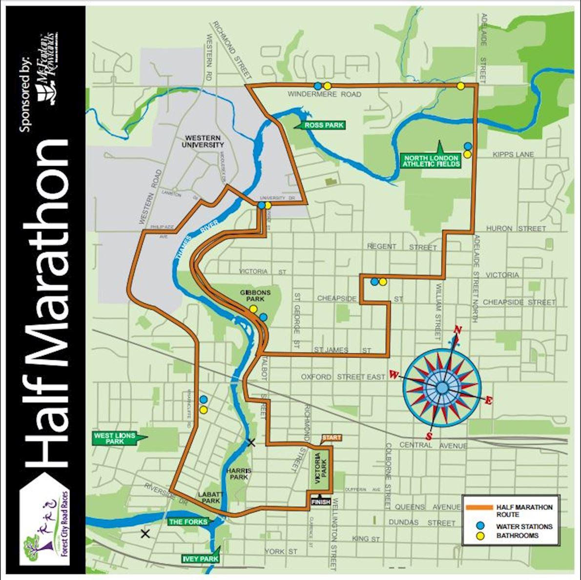 London Life Forest City Road Races Mappa del percorso