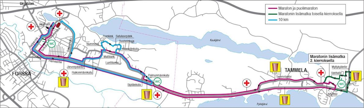 Forssa Summer Night Marathon 路线图