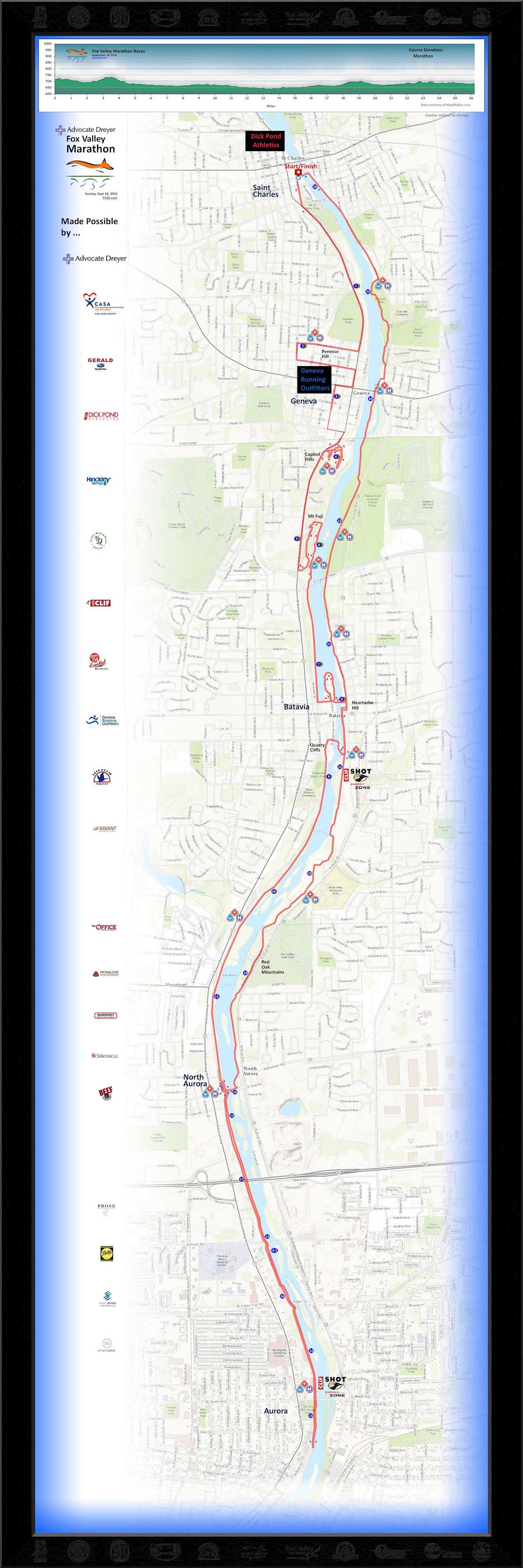 Fox Valley Marathon Routenkarte