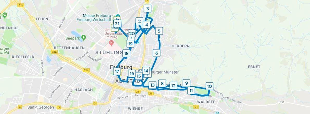 Freiburg Marathon Route Map