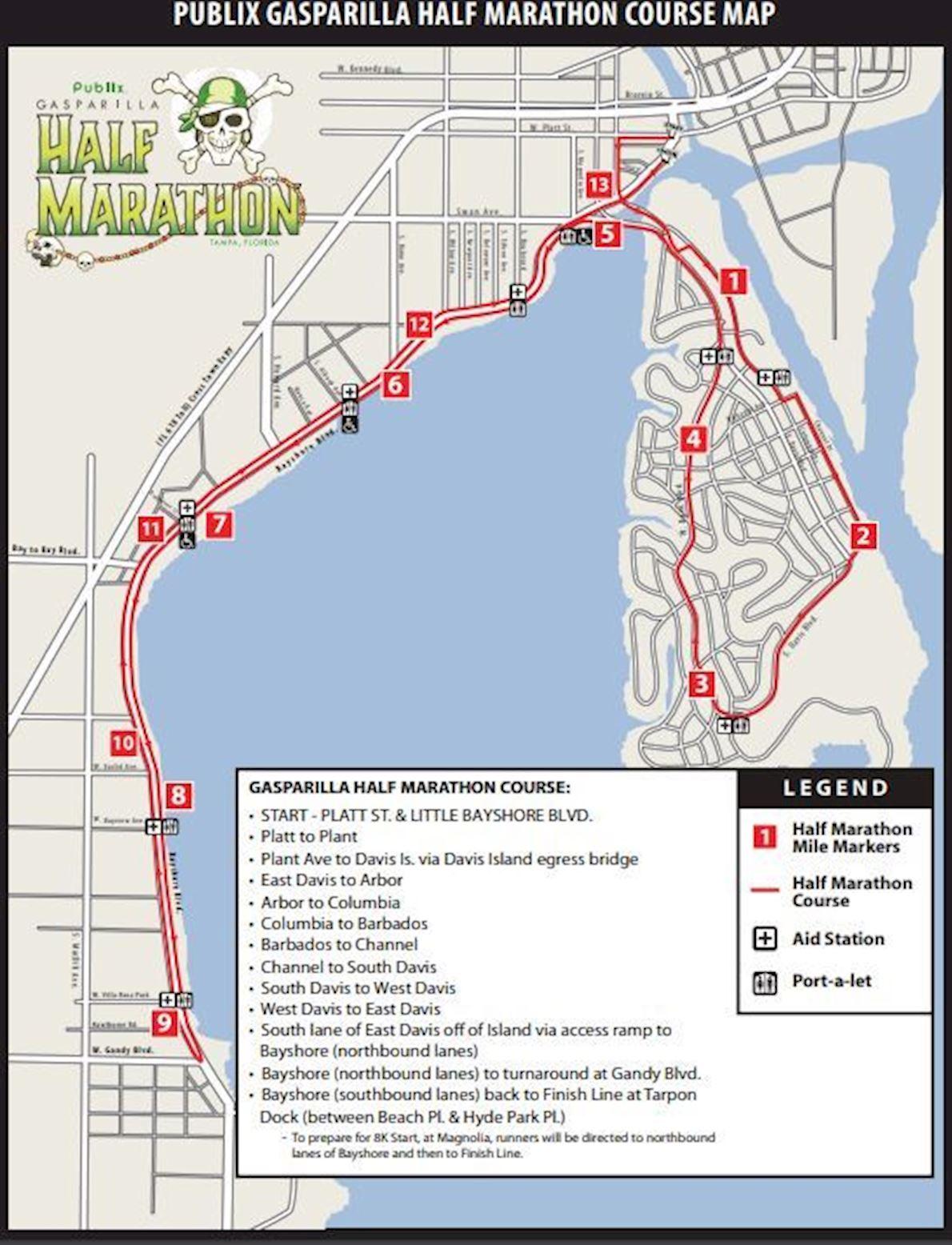 Tampa's Gasparilla Distance Classic Route Map