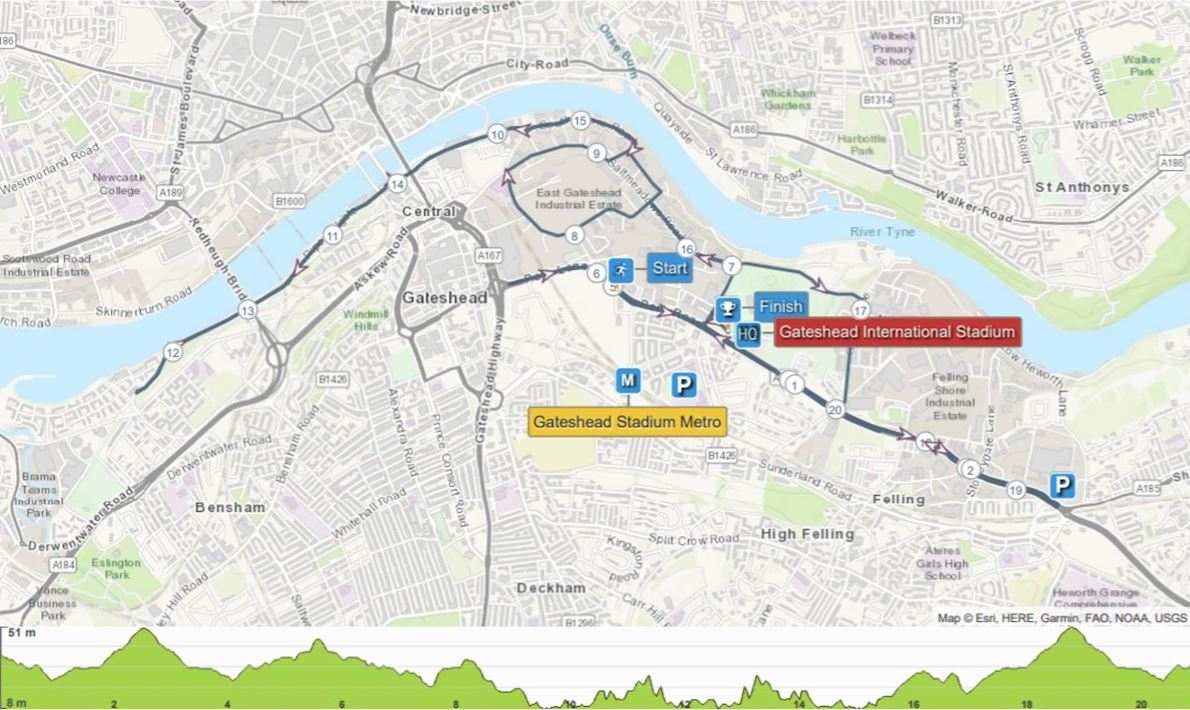 Gateshead Half Marathon Route Map