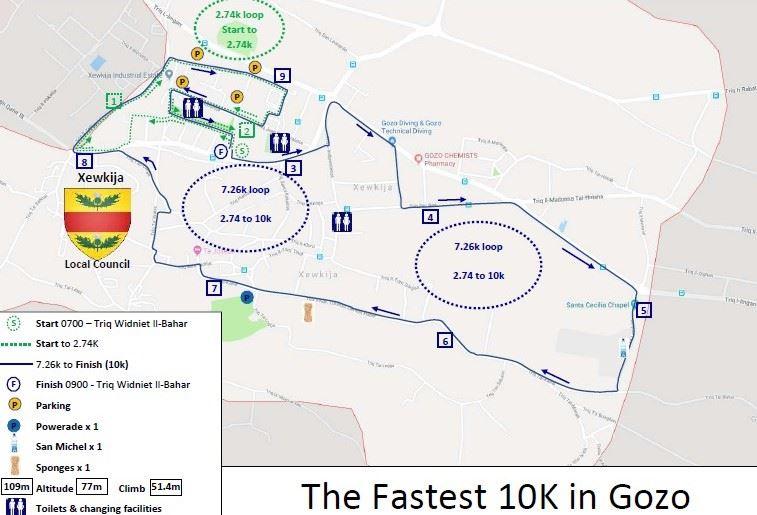 Intersport Gaudos 10K (Gozo, Malta) 路线图
