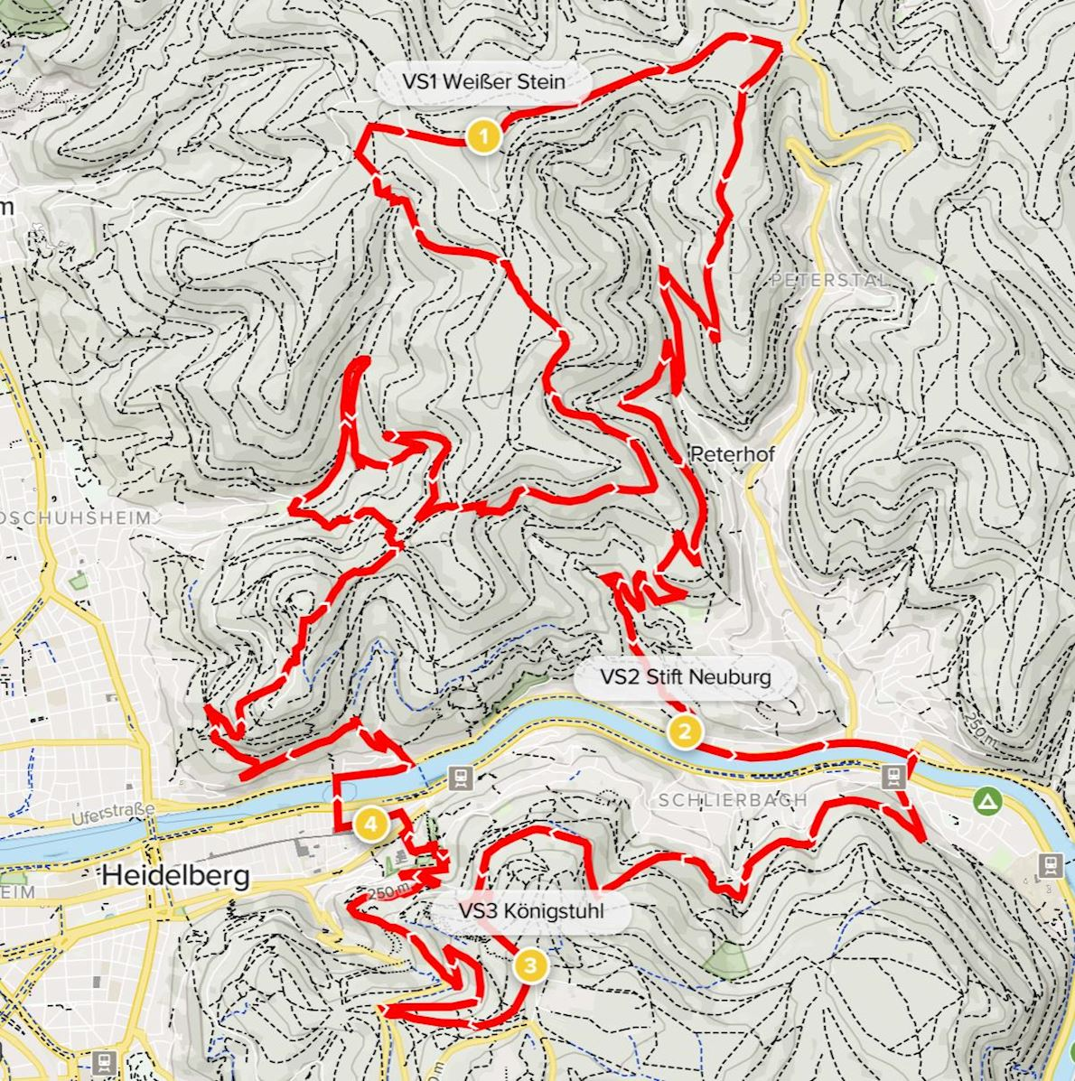 GELITA Trail Marathon Heidelberg MAPA DEL RECORRIDO DE
