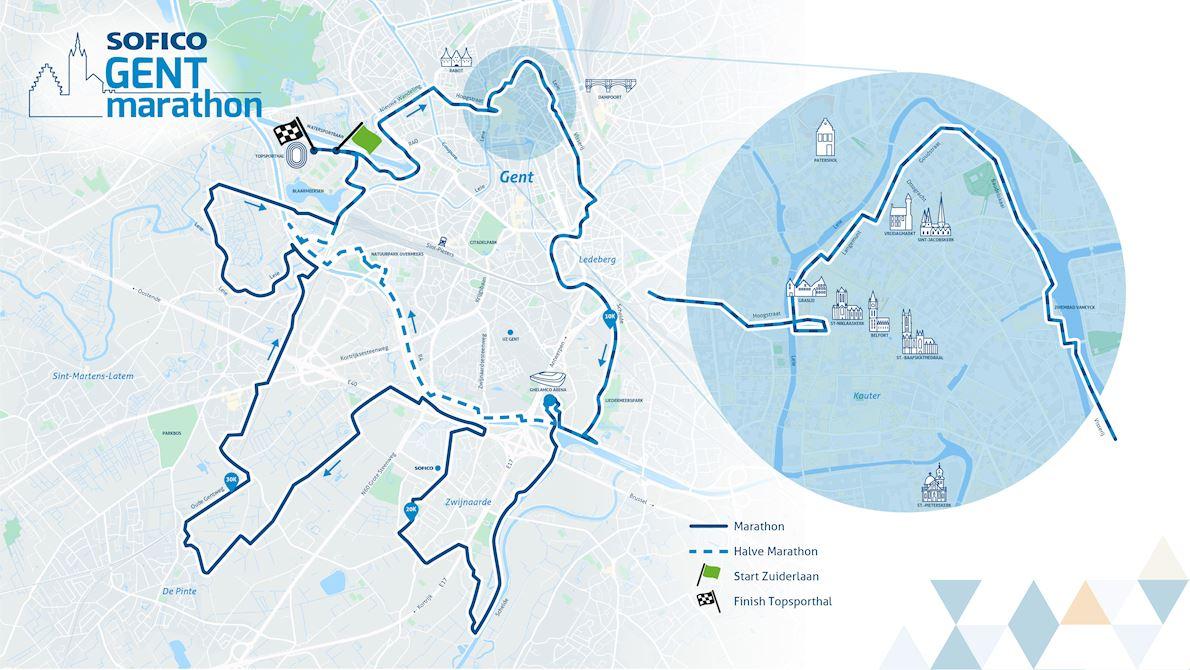 Sofico Gent Marathon Route Map