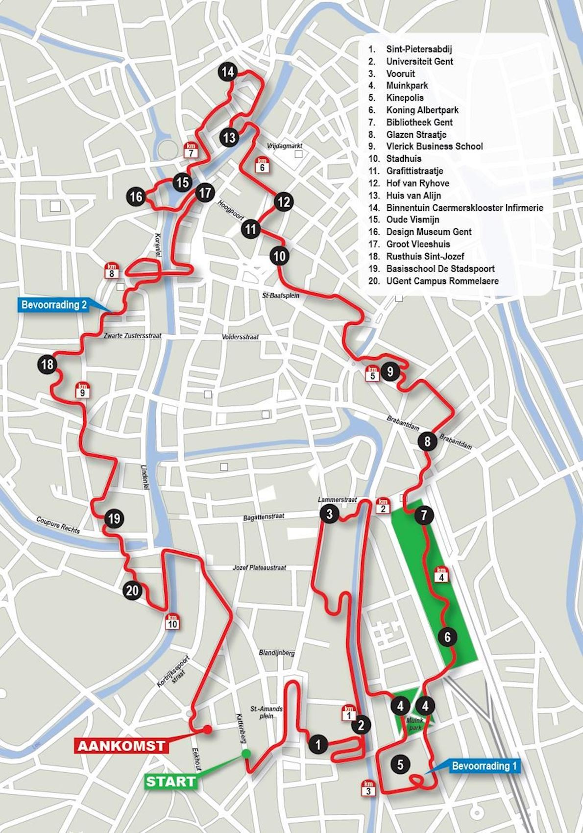 Urban Trail Gent Route Map