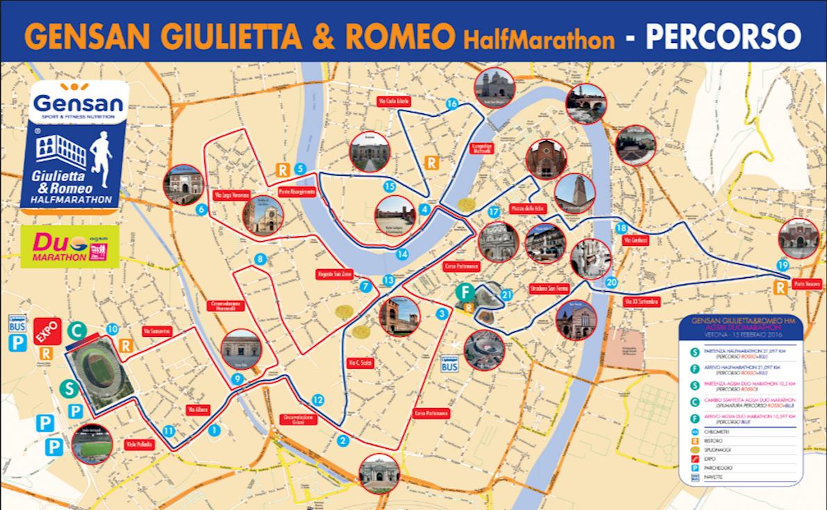 Giulietta & Romeo Half Marathon Route Map