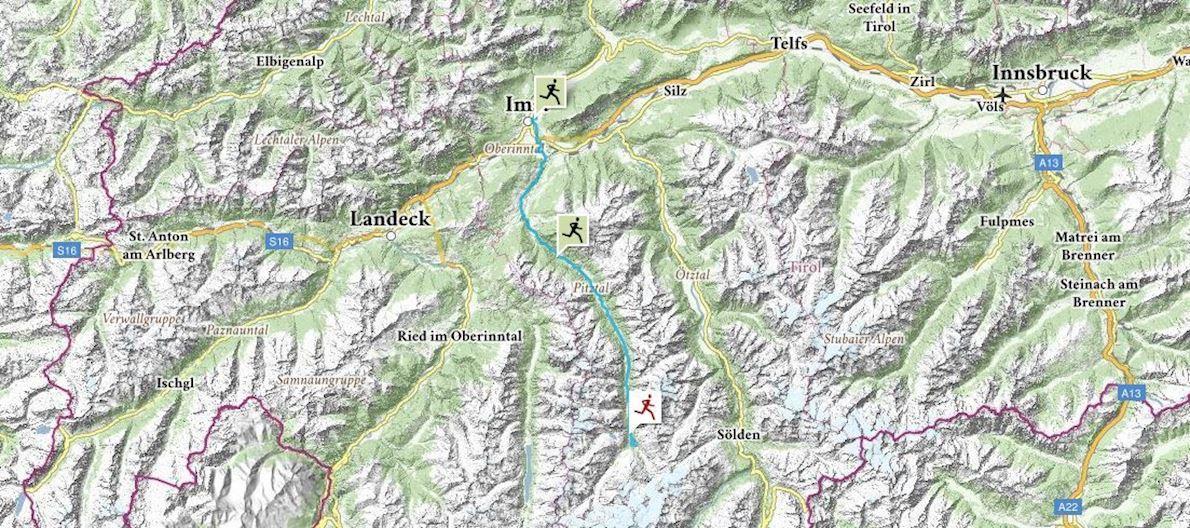 Gletschermarathon Pitztal-Imst Routenkarte