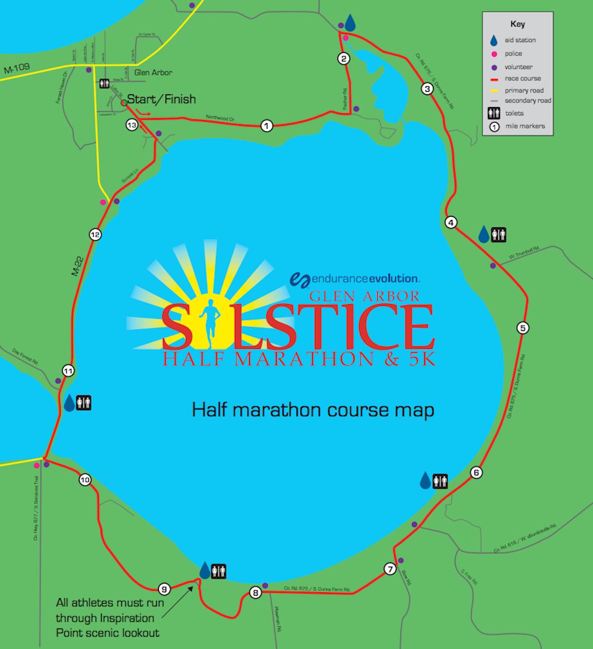 Glen Arbor Solstice Half Marathon & 5K MAPA DEL RECORRIDO DE