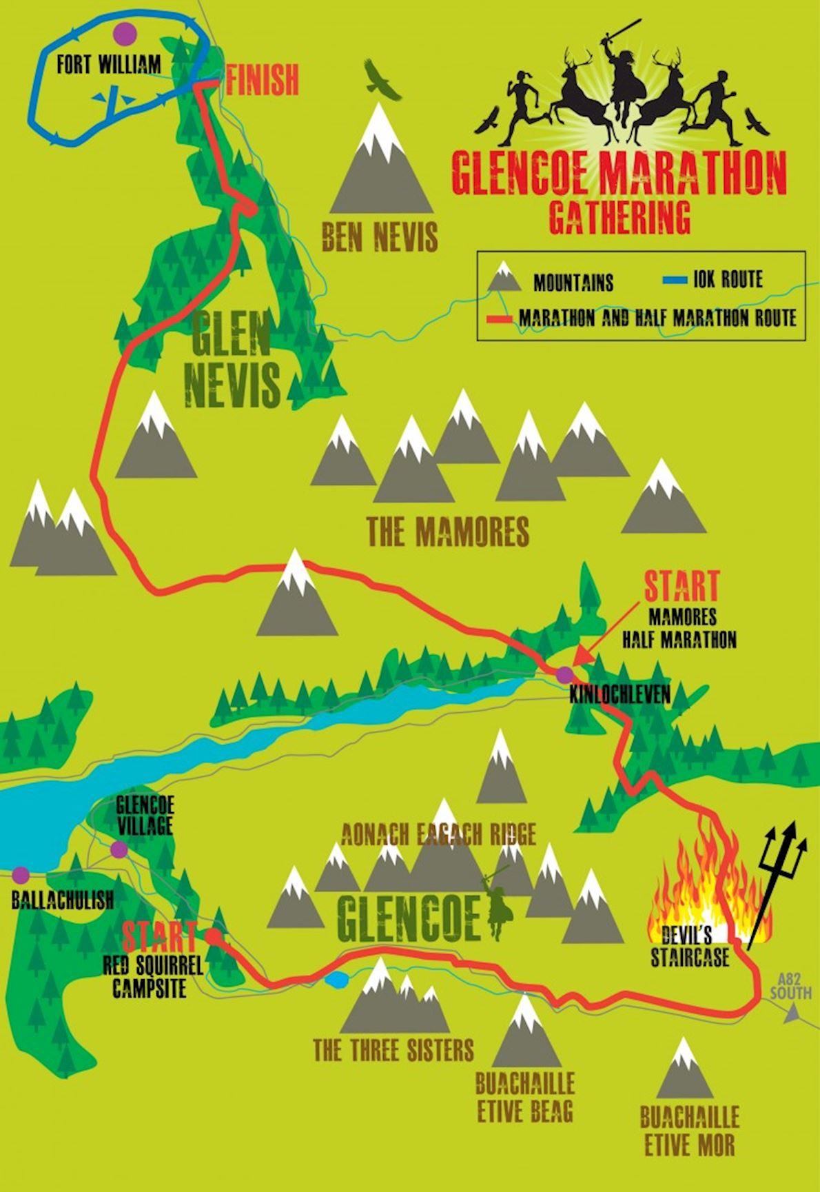 Glencoe Marathon Gathering Routenkarte