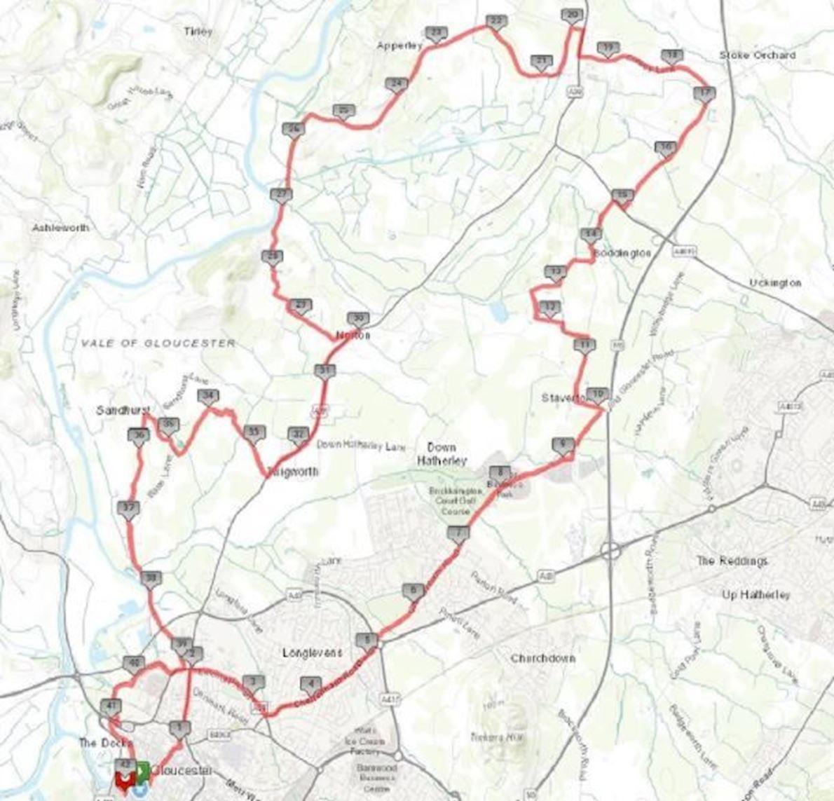 Gloucester City Marathon & Half Mappa del percorso