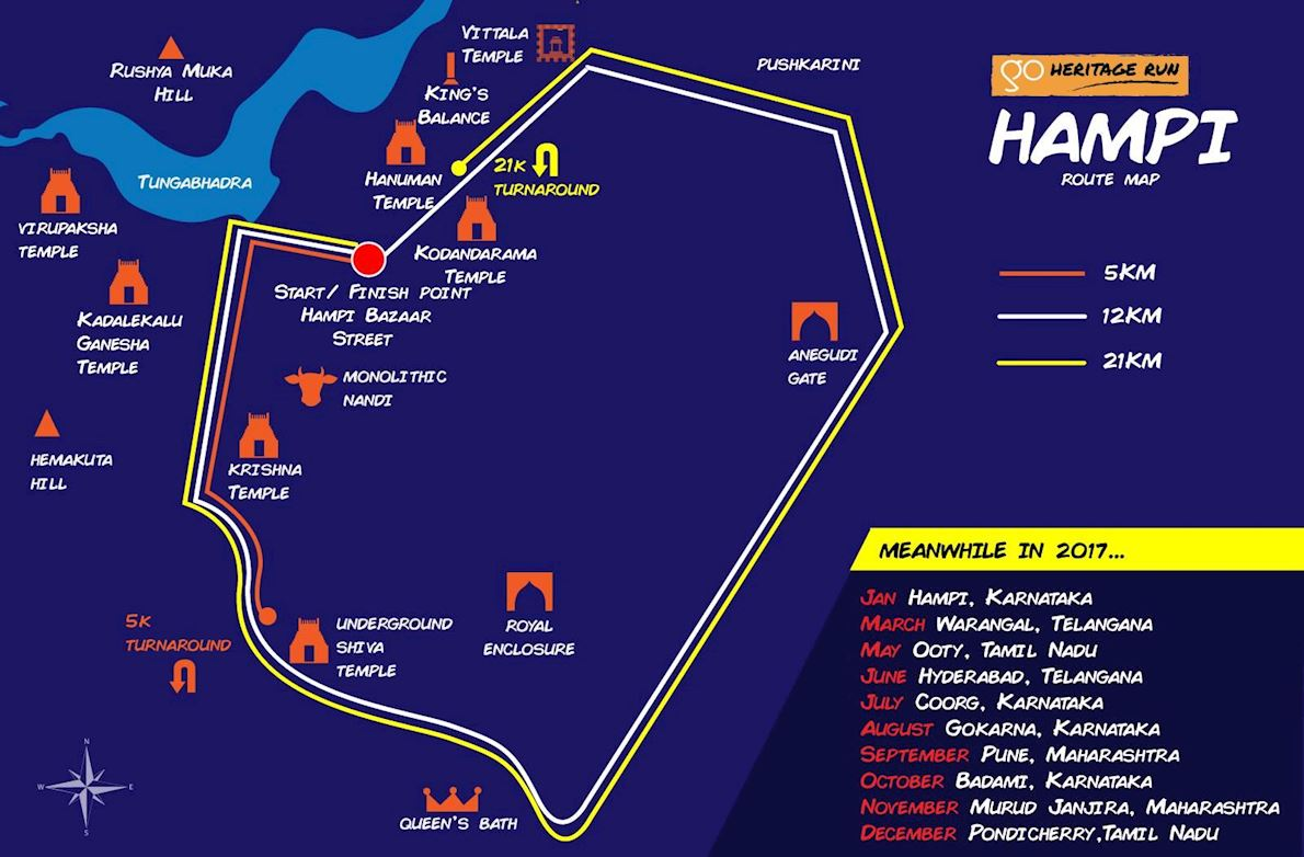 Go Heritage Run - Hampi Routenkarte