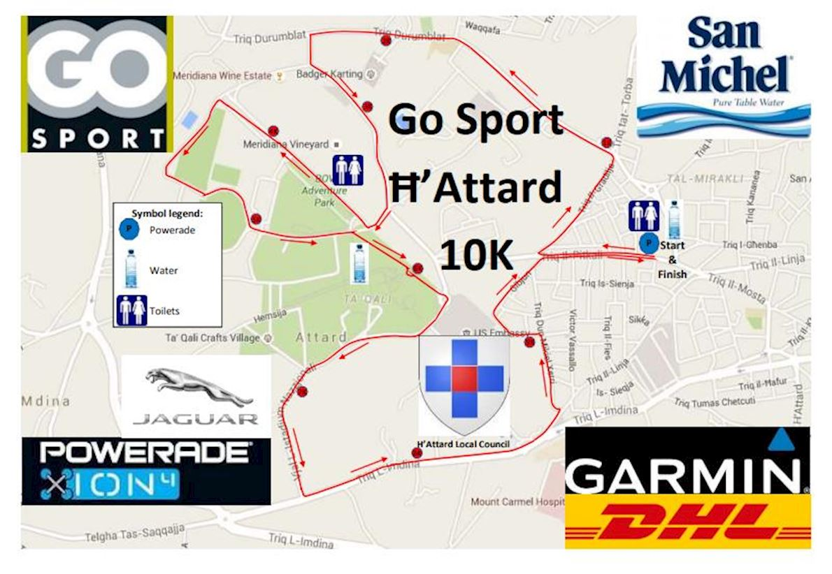 Intersport Attard 10K (Malta) Routenkarte