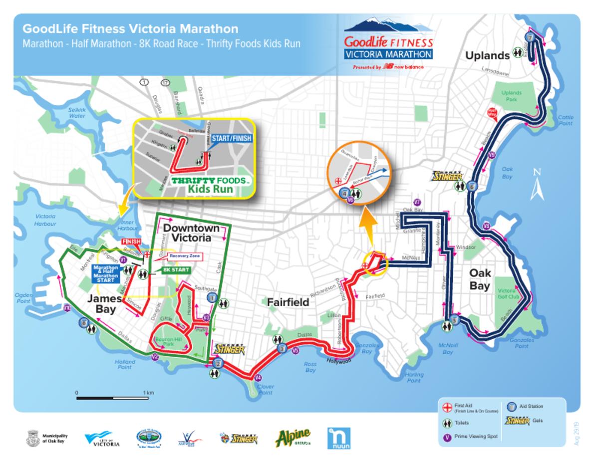 GoodLife Fitness Victoria Marathon MAPA DEL RECORRIDO DE