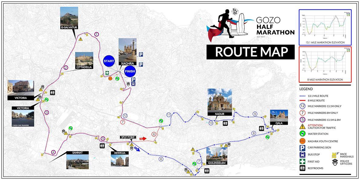 Gozo Half Marathon Mappa del percorso
