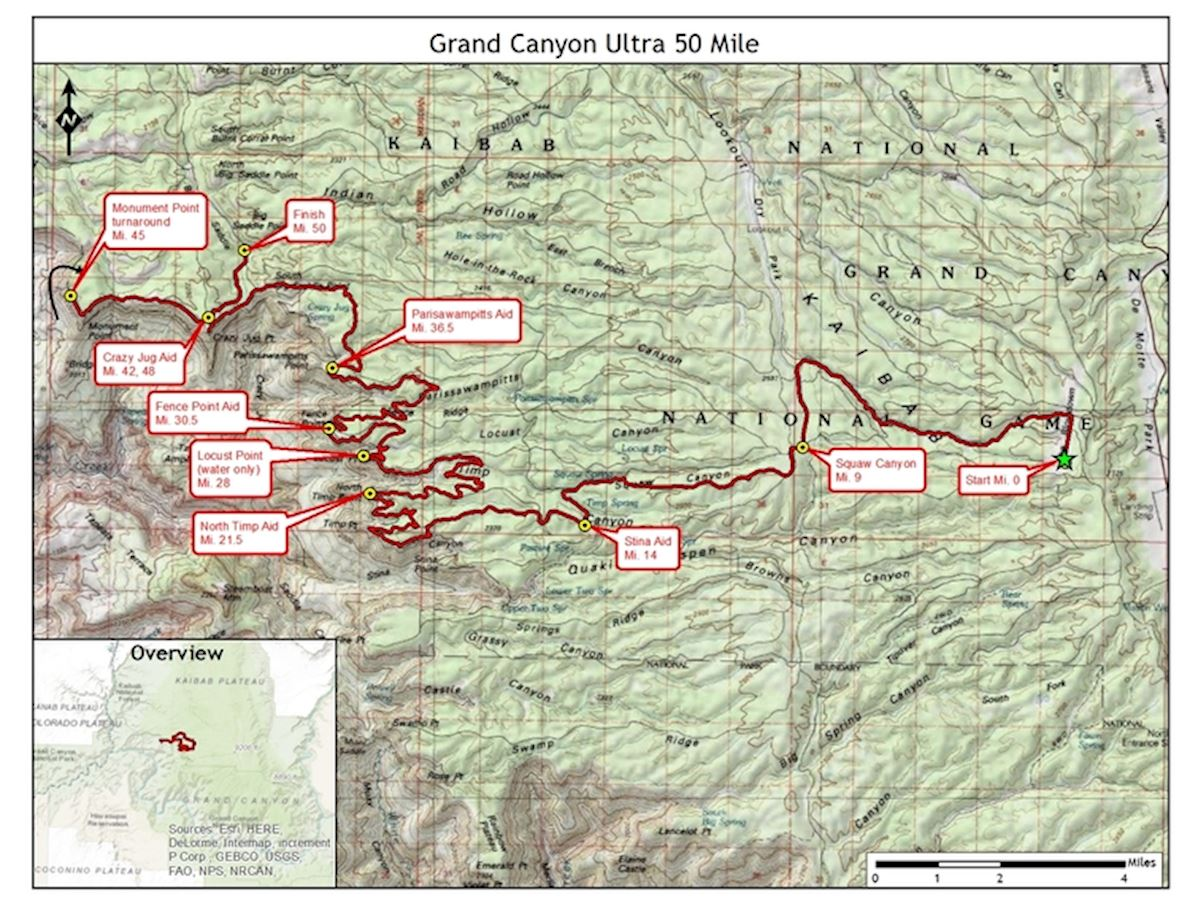 Grand Canyon Ultras Route Map