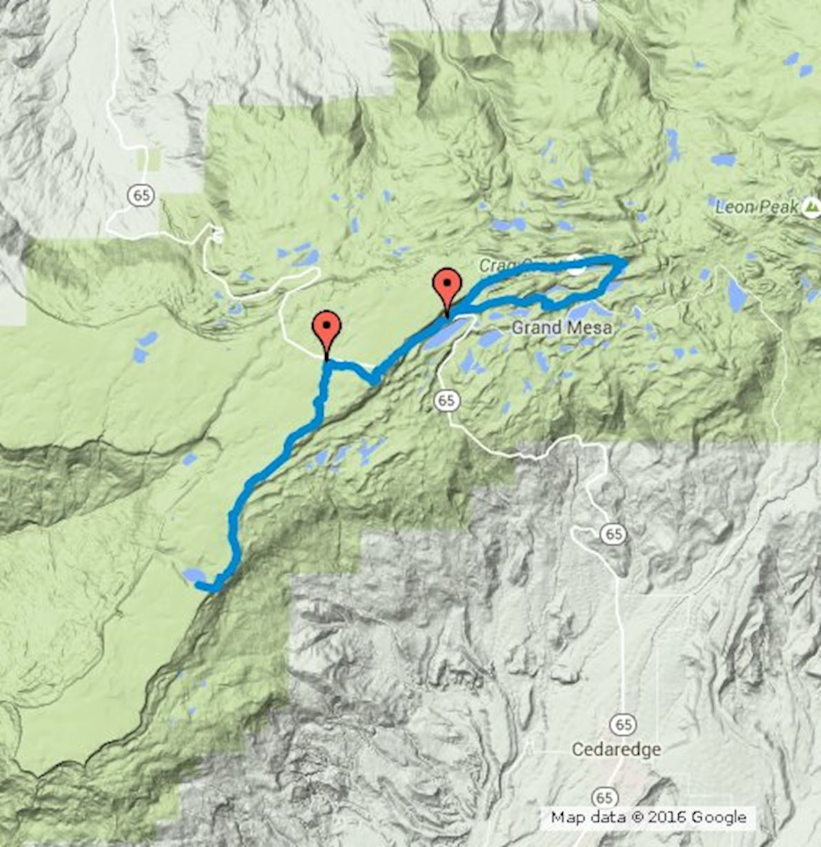 Grand Mesa Ultra 50K Route Map
