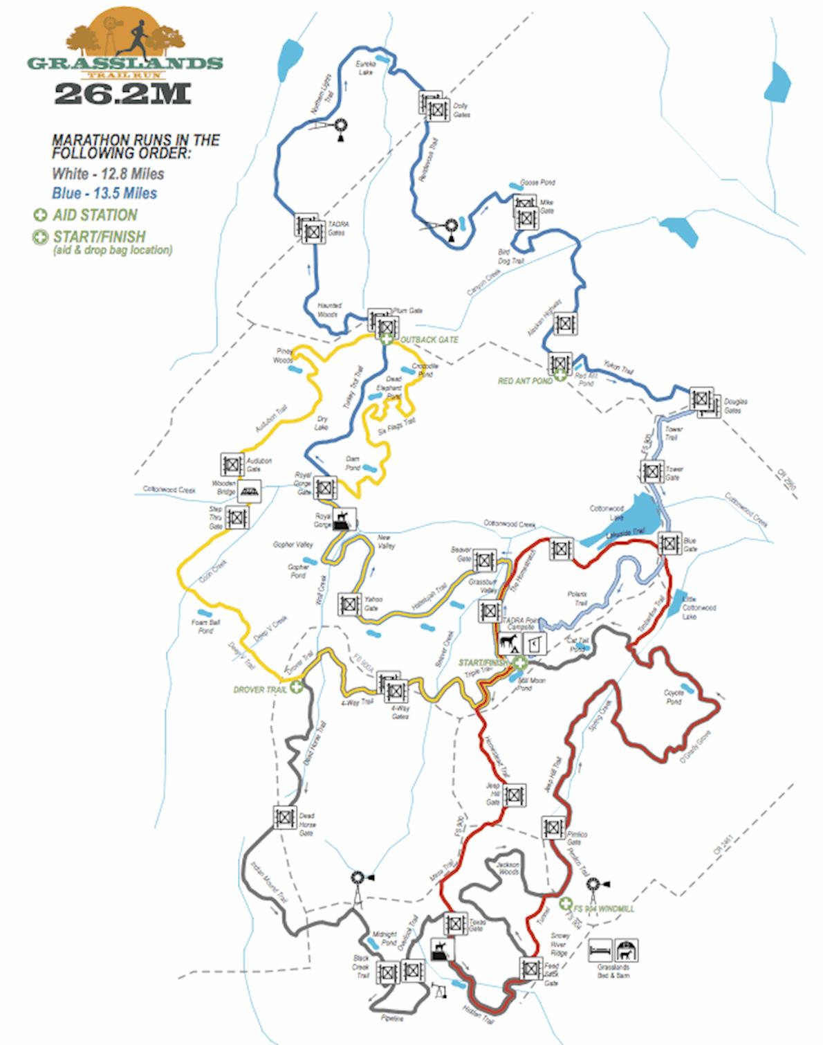Grasslands Trail Runs Route Map