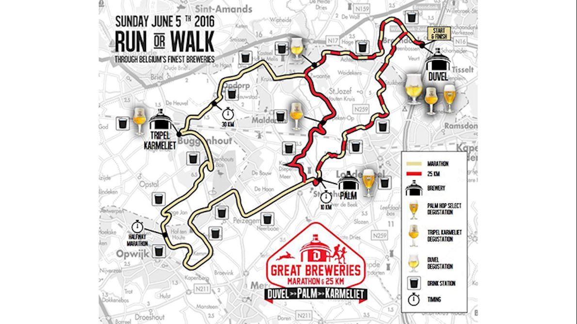 Great Breweries Marathon Route Map