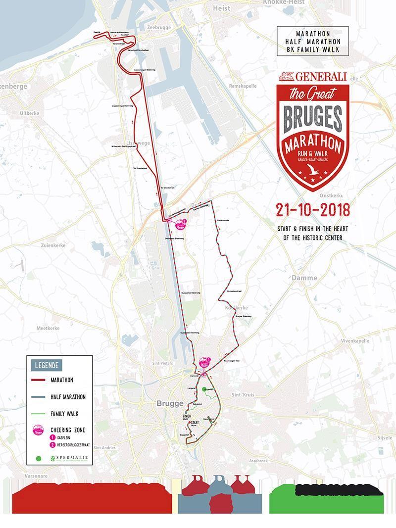 Athora Great Bruges Marathon Route Map