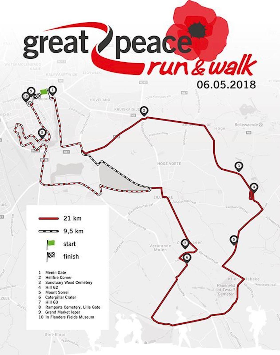 Great Peace Run & Walk Route Map
