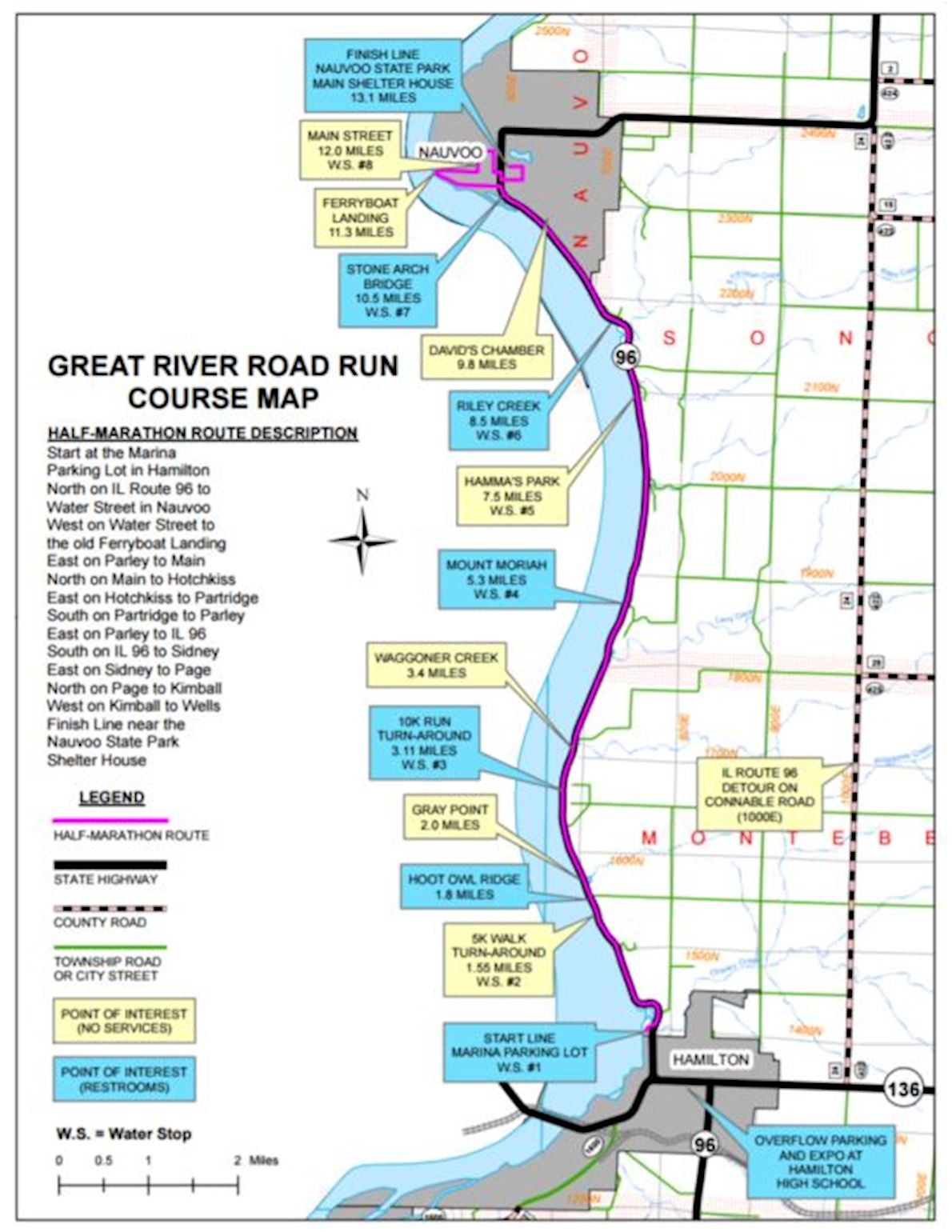 Great River Road Run Route Map