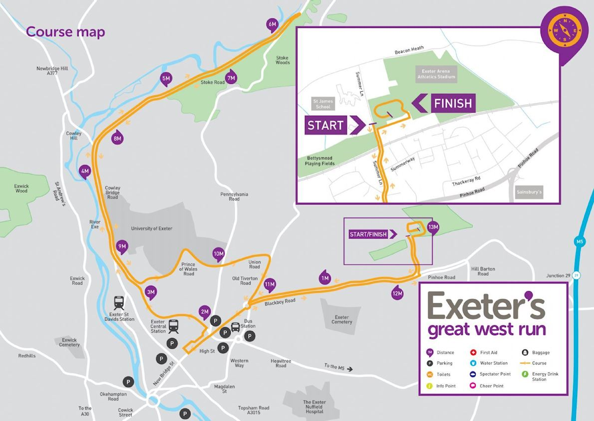 Exeter's Great West Run Mappa del percorso