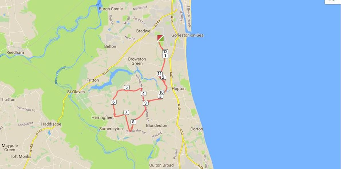 Great Yarmouth Half Marathon Route Map