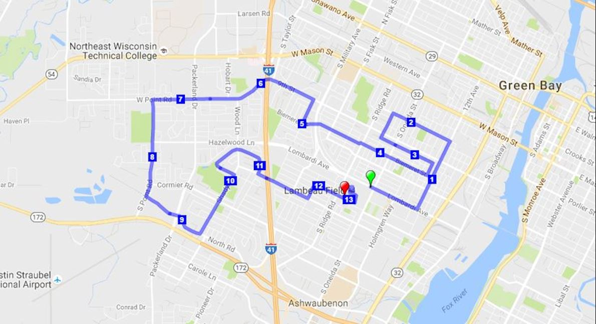 Green Bay Half Marathon Route Map