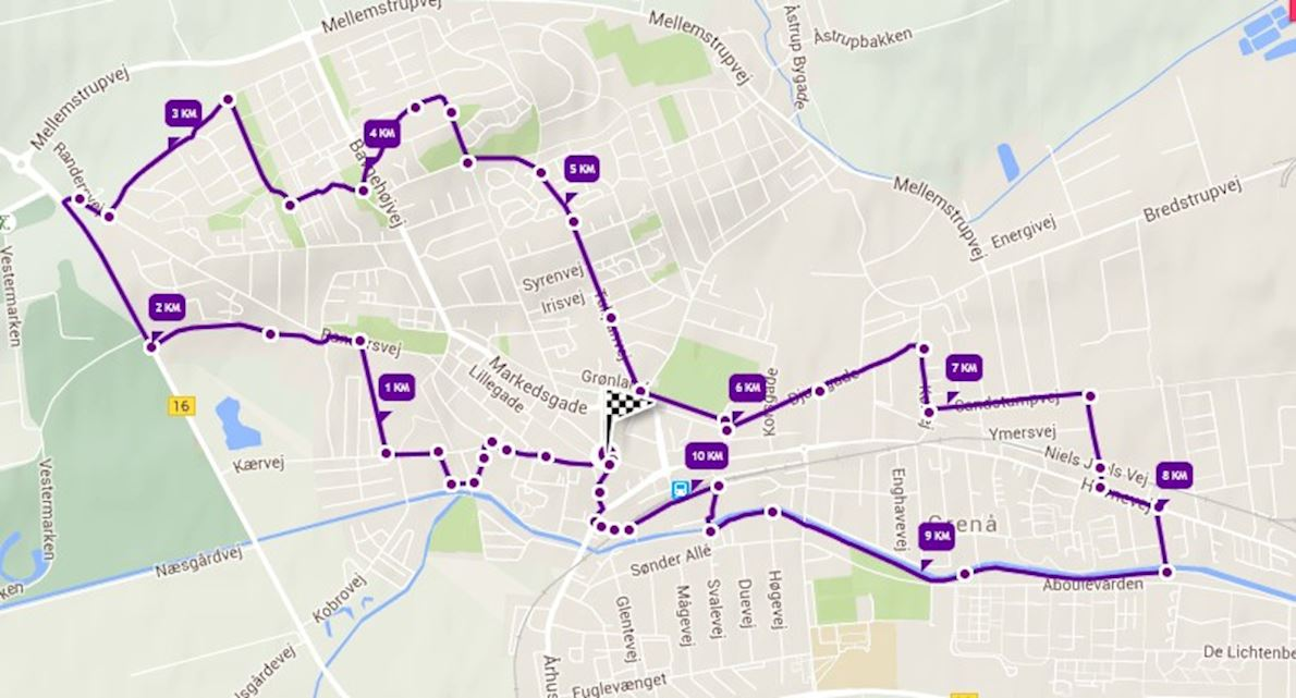 Grenaa City Marathon Route Map