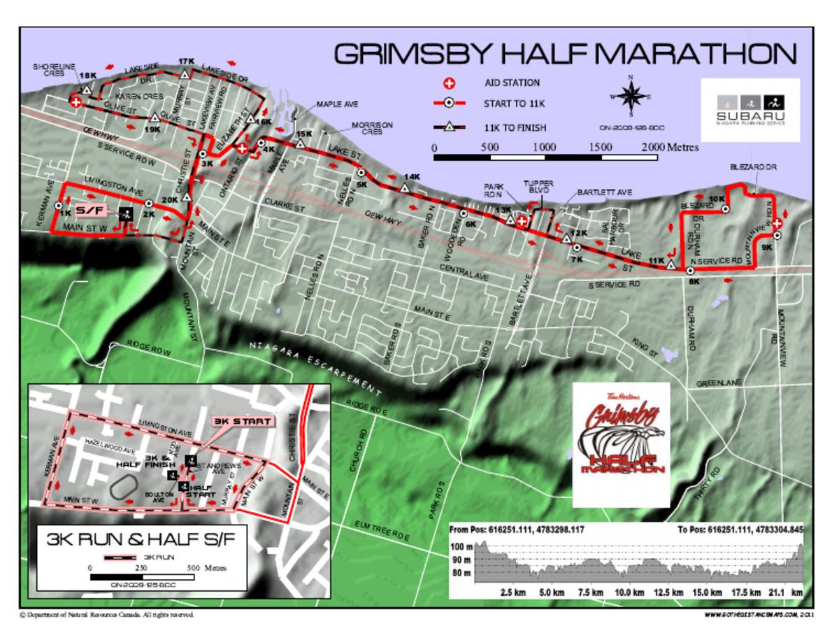 Grimsby Half Marathon Routenkarte