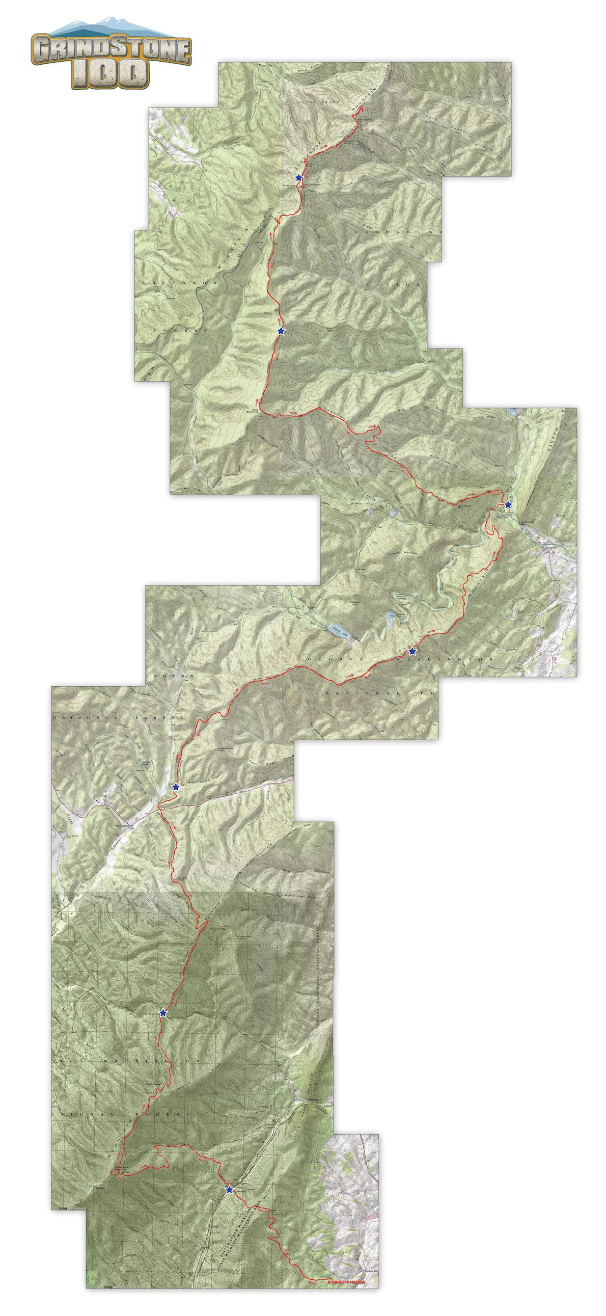 GrindStone 100 Route Map