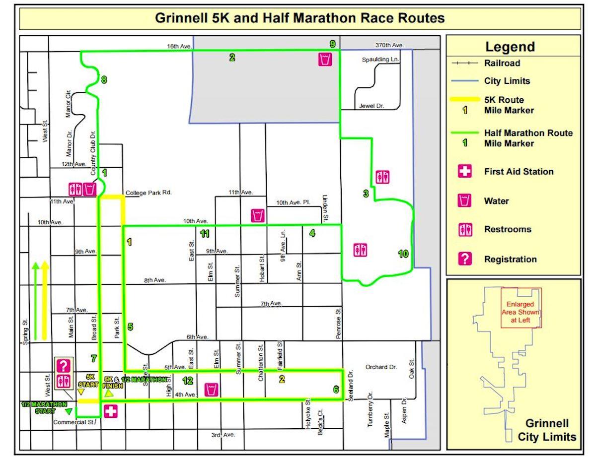 Grinnell Games Half Marathon 路线图