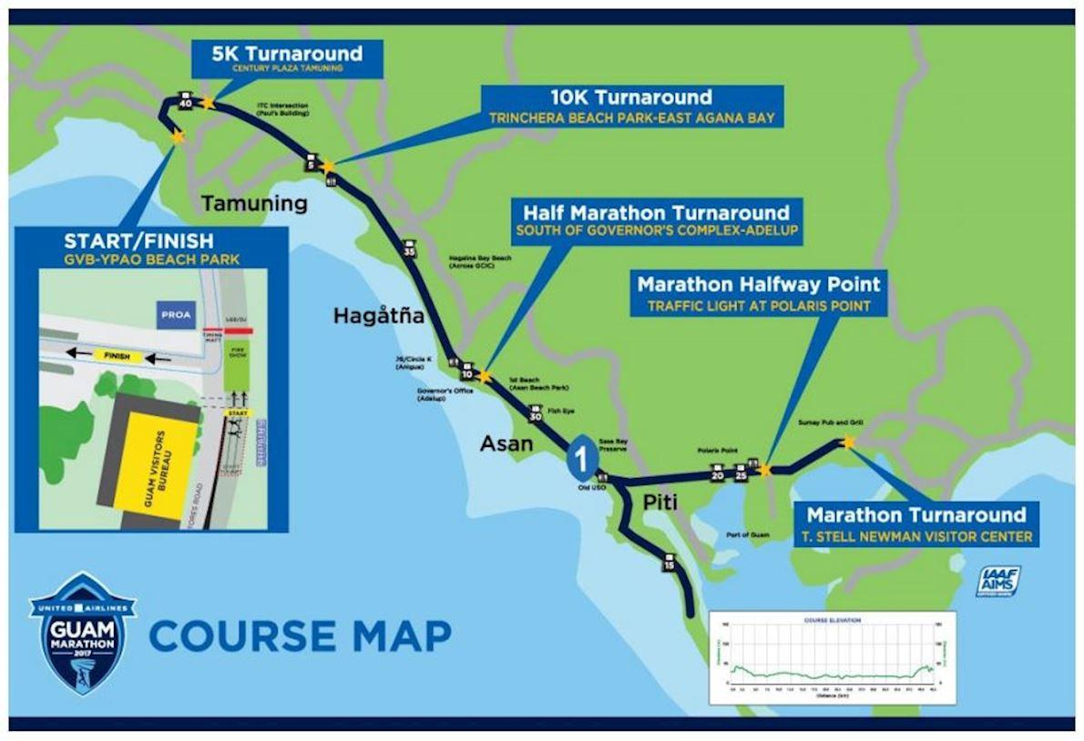 United Airlines Guam Marathon Routenkarte