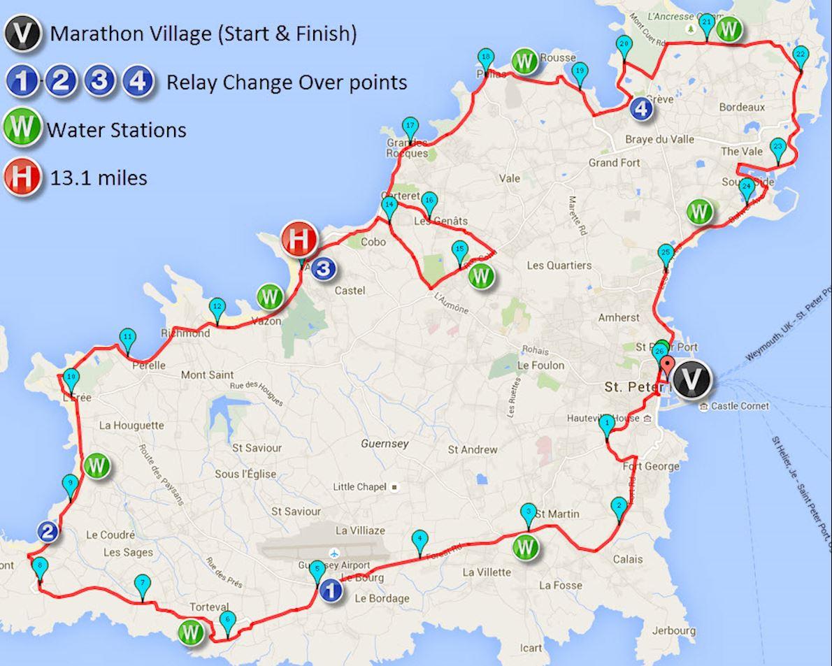 Guernsey Waterfront Marathon MAPA DEL RECORRIDO DE