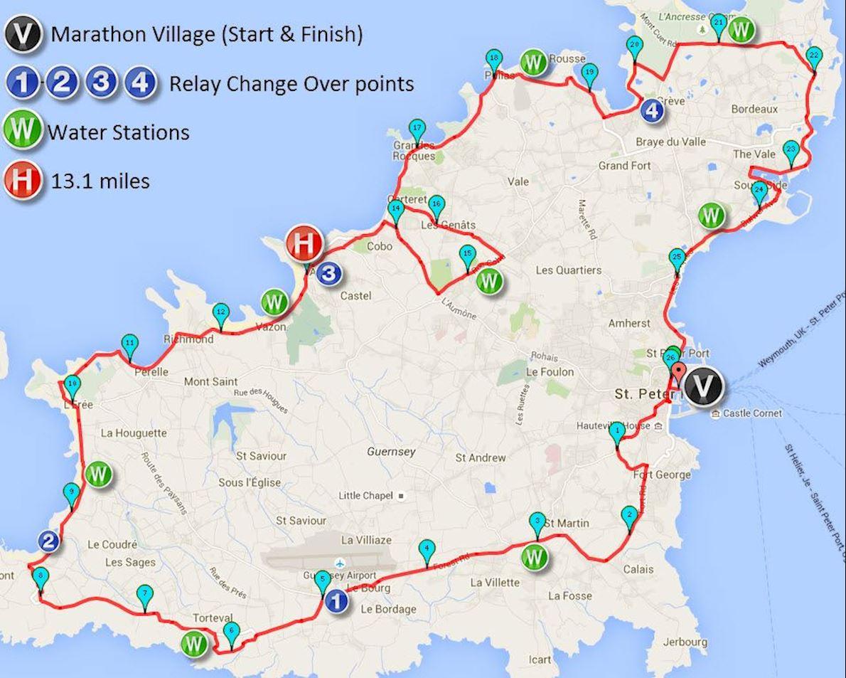 Guernsey Waterfront Marathon Routenkarte