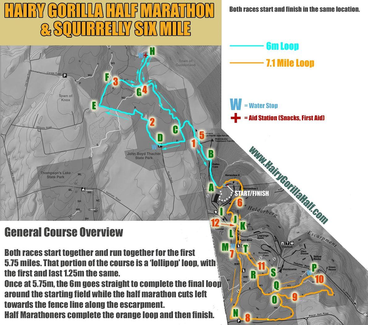 Hairy Gorilla Half Marathon & Squirrelly Six Miler Route Map