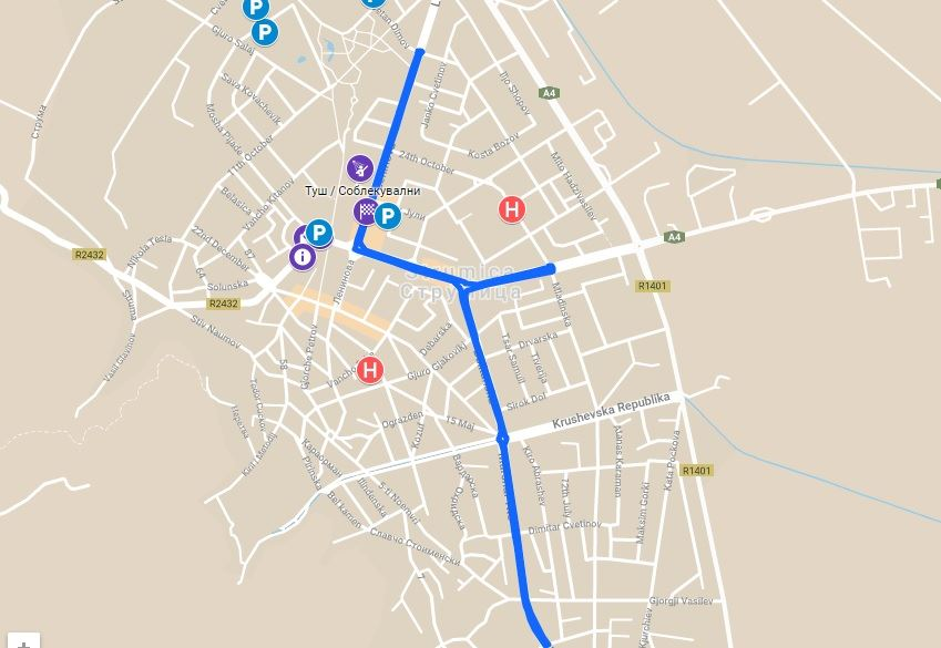 Strumica on street - Strumica na ulica Route Map