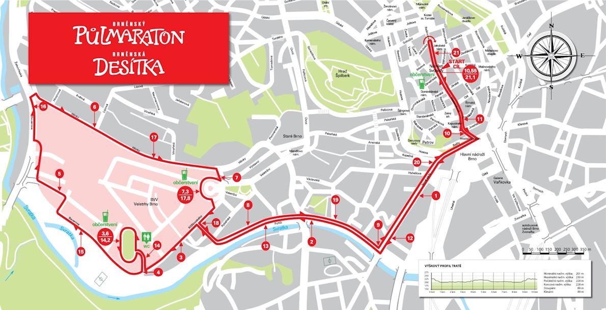 Halfmarathon Brno Route Map